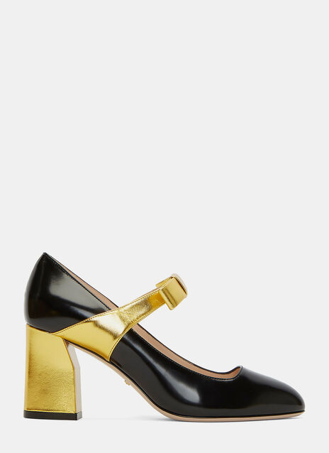 Metallic Block Heeled Mary Jane Pumps
