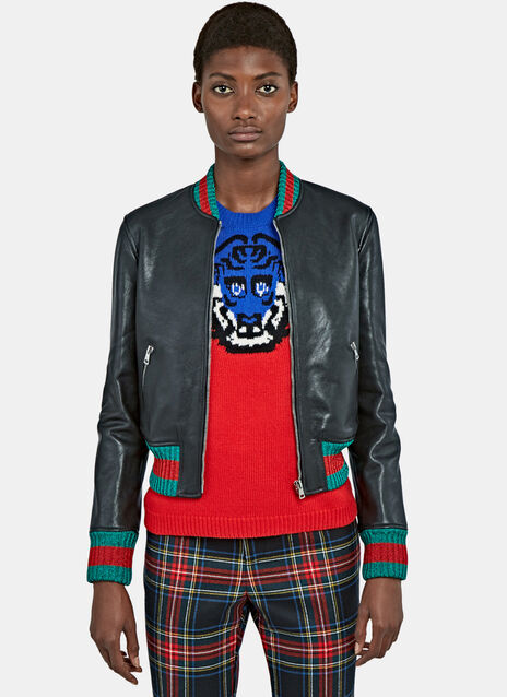 Metallic Stripe-Trimmed Leather Bomber Jacket