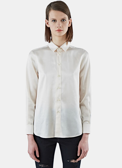 Silk Long Sleeved Satin Shirt