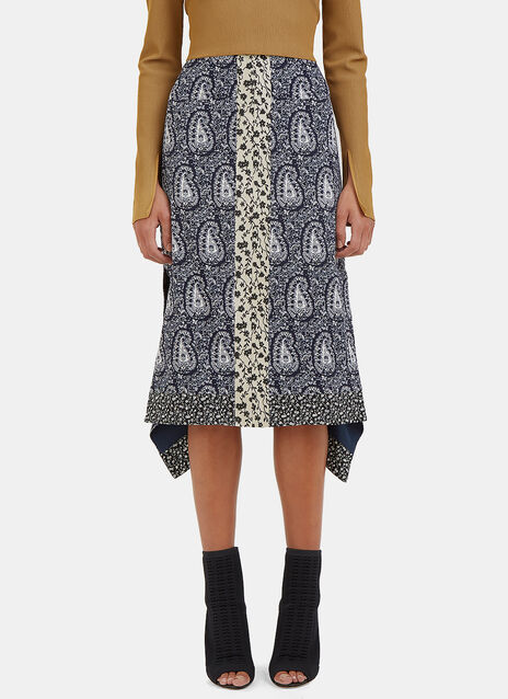 Cyrus Paisley Asymmetric Mid-Length Skirt
