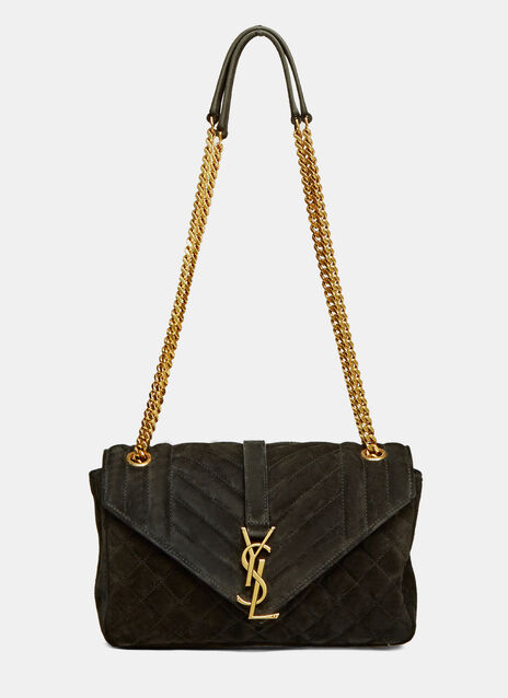 College YSL Monogrammed Suede Quilted Bag