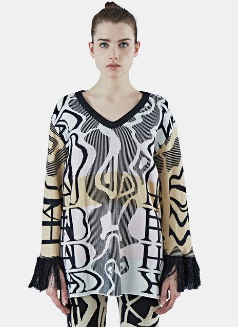 Tribai Fringed Sweater Dress