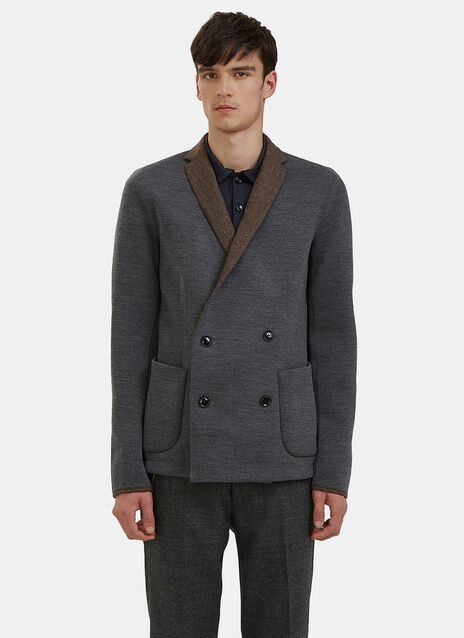 Double-Breasted Contrast Collar Blazer Jacket