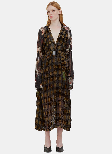 Winona Long Checked Floral Satin Devoré Dress