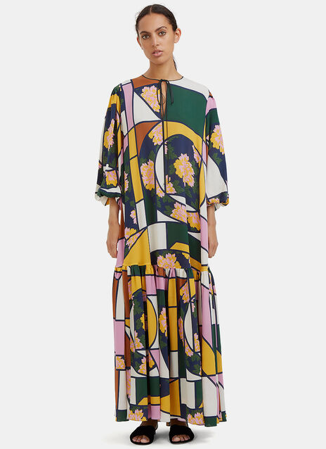 Nihau Long Geometric Print Dropped Frill Dress