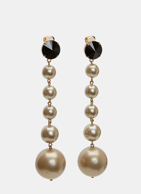 Faux Pearl Sphere Pendant Drop Earrings
