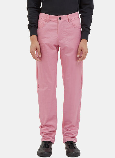 Contrast Fabric Straight Leg Pants