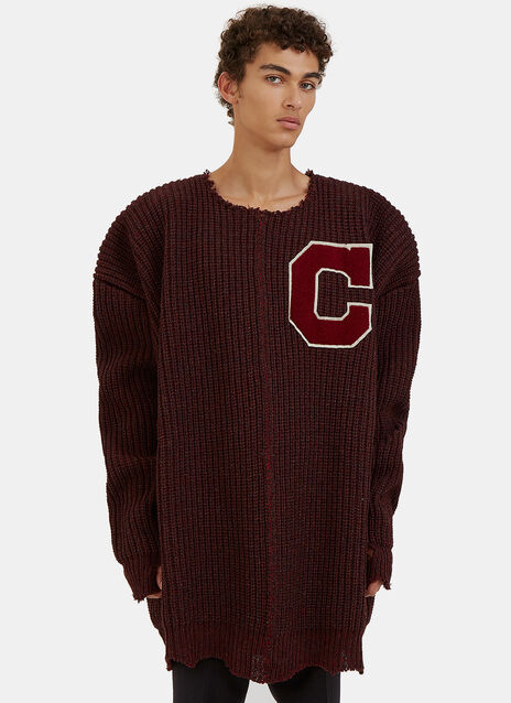 Oversized Destroyed Varsity Sweater