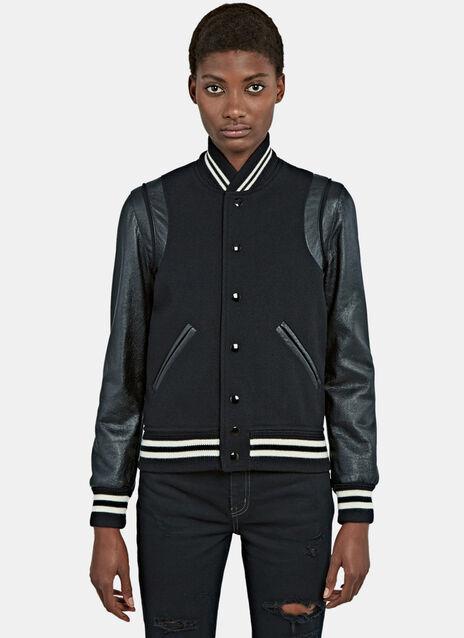Varsity Leather Bomber Jacket