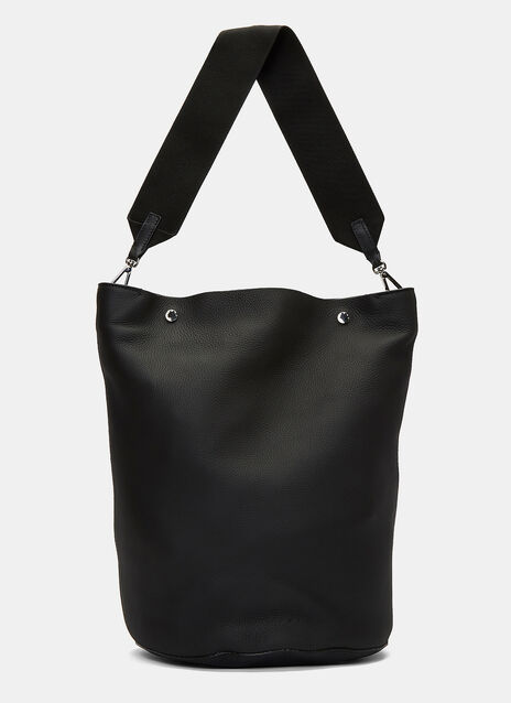 Large Grained Leather Bucket Bag