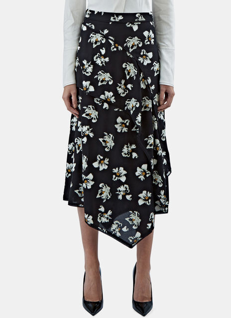 Floral Asymmetric Layered Skirt