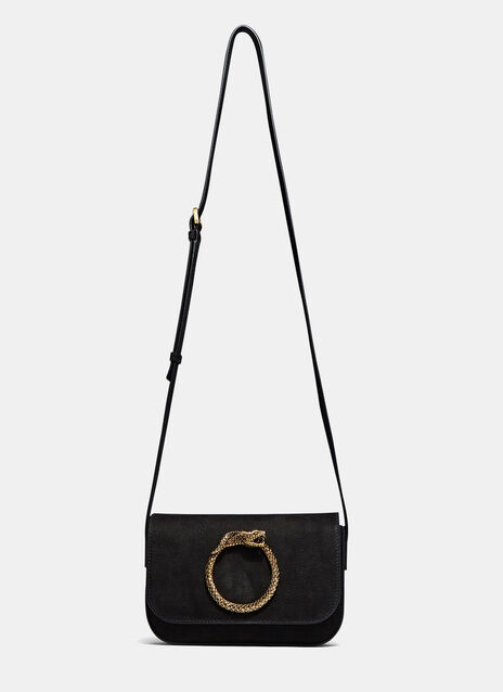Eddie Suede Serpent Satchel Bag