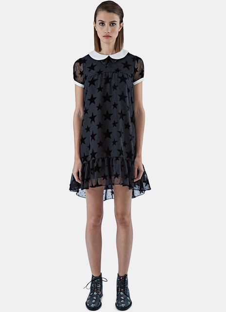 Star Appliqué Babydoll Dress