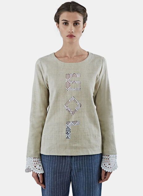 Crochet Lace God Linen Top