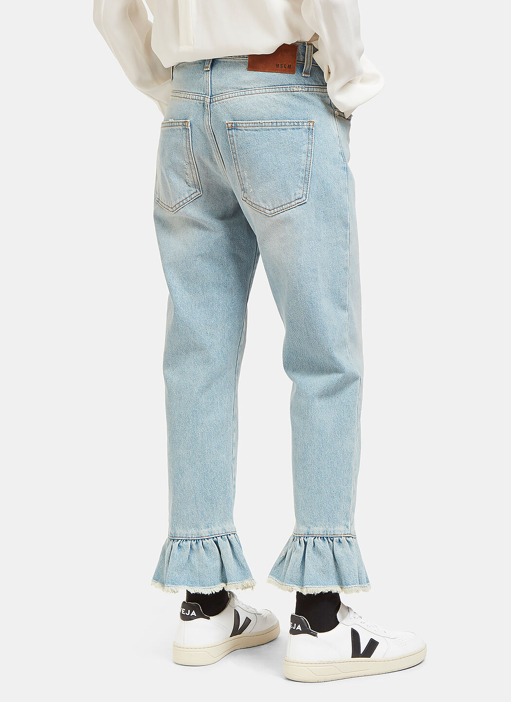 MSGM Cropped & Ruffled Cotton Denim Jeans, Light Blue