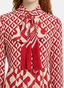 Long Geometric Print Pleated Crêpe de Chine Dress