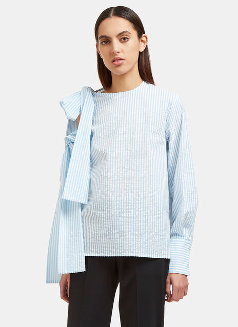 Seersucker Striped Shoulder Tie Top