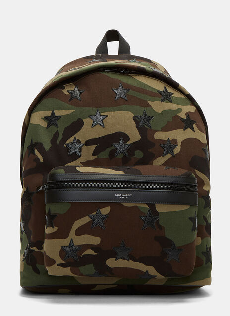 Camouflage Star Appliqué Canvas Hunting Backpack