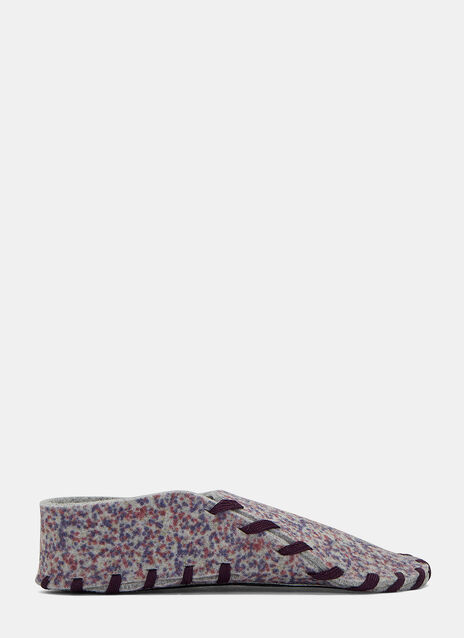 Flecked Stain Print Felted Lace-Up Slippers