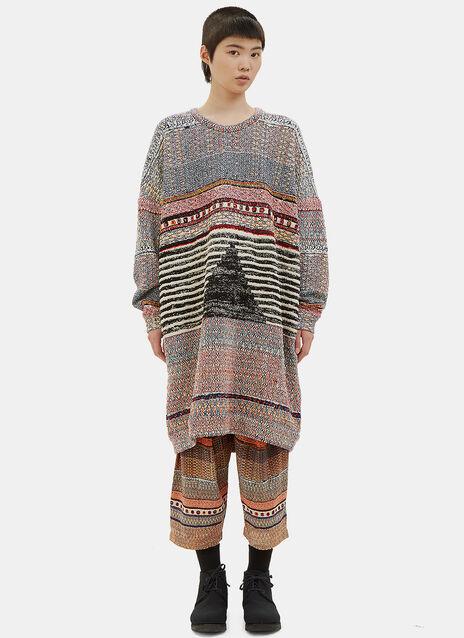 Oversized Patterned Sweater Dress