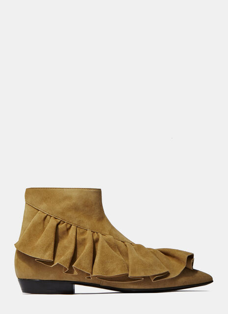 Suede Ruffle Ankle Boots