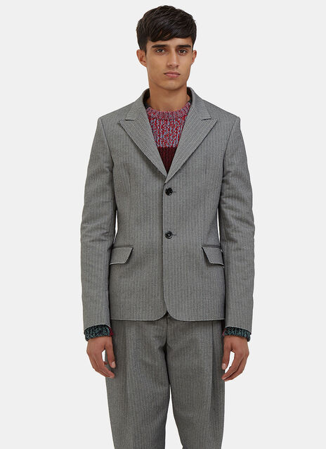Julien Single-Breasted Chevron Blazer Jacket