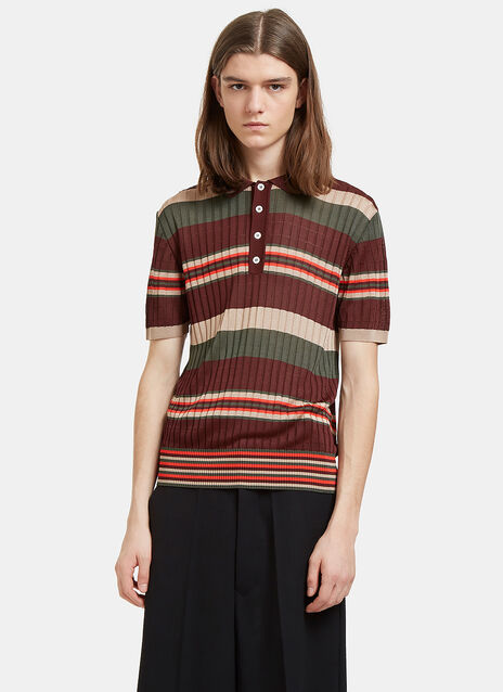 Striped Fine Knit Polo Shirt