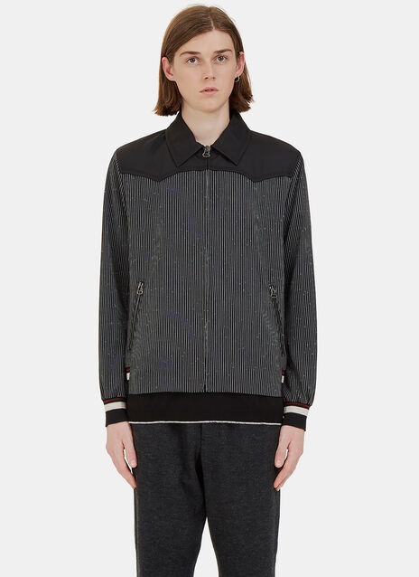 Flecked Stripe Contrast Yoke Jacket