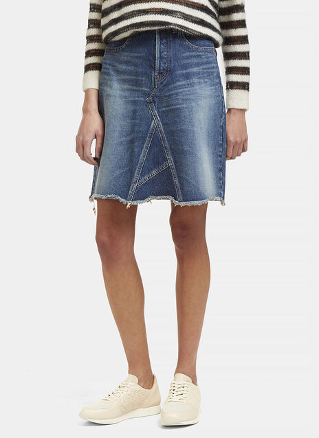 Asymmetric Stitched Denim Skirt