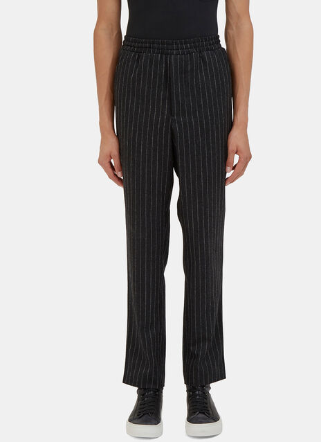 Carrot Cut Felted Wool Pinstripe Pants
