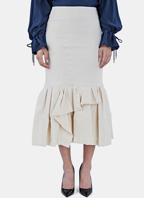 Mid-Length Dropped Asymmetric Frill Skirt