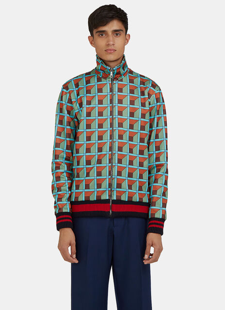 Geometric Print Teddy Bomber Jacket