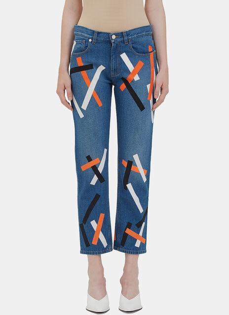 Printed Straight Leg Jeans