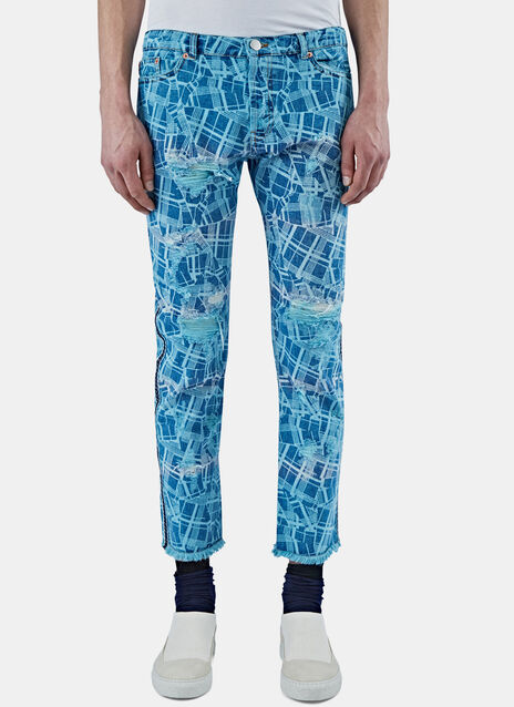 Slim Cracked Print Jeans