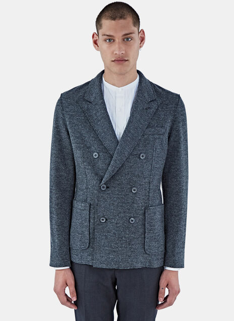 Deconstructed Double-Breasted Blazer Jacket