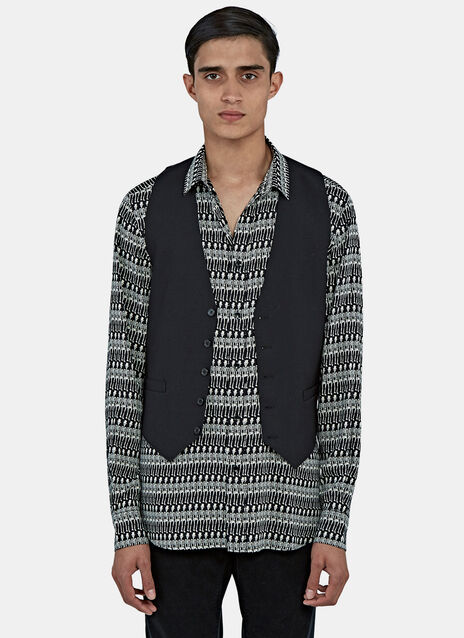 Leopard Print Lined Gabardine Waistcoat