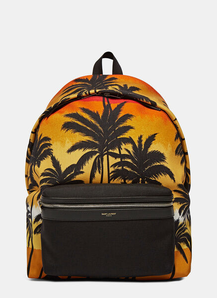 SS16: Saint Laurent Hunt Hawaii Palm Print Backpack