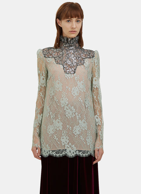 Metallic Scalloped Lace Top