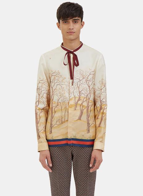 Scenic Print Silk Shirt