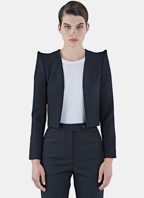 Pointed Shoulder Cropped Tuxedo Jacket