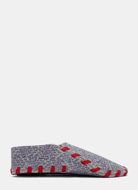 Square Print Felted Lace-Up Slippers