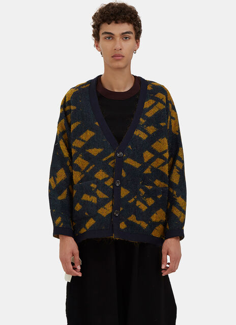 Oversized Reversible Jacquard Cardigan