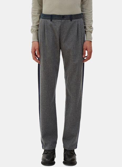 Front Pleat Denim Patchwork Pants
