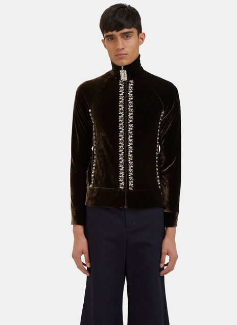 Oreyema Jewelled Velvet Zip-Up Track Top