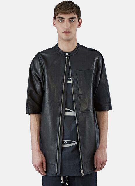 Oversized Short Sleeved Leather Jacket