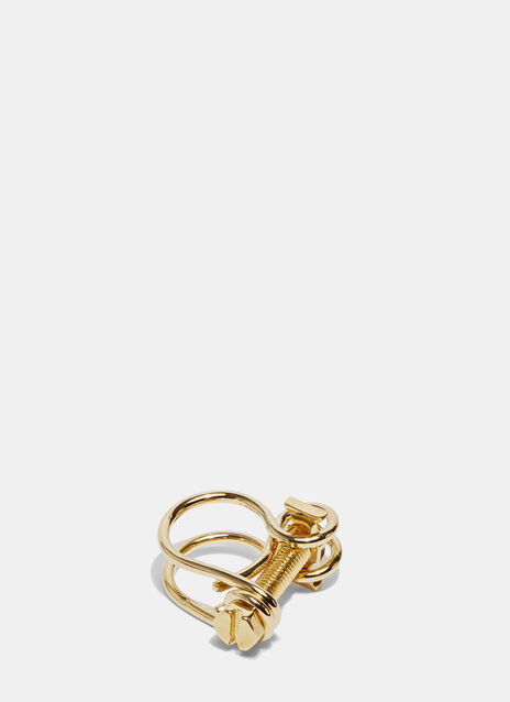 Gold Looped Screw Ring
