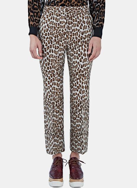 Leopard Print Flared Cuff Pants