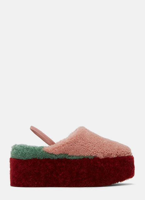 Shearling Colour-Blocked Platform Slippers