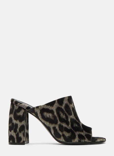 Velvet Leopard Print Mules
