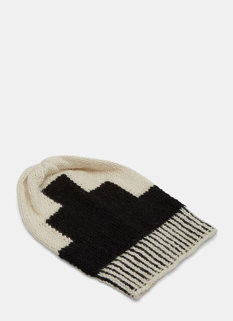 Geometric Block Knit Beanie Hat